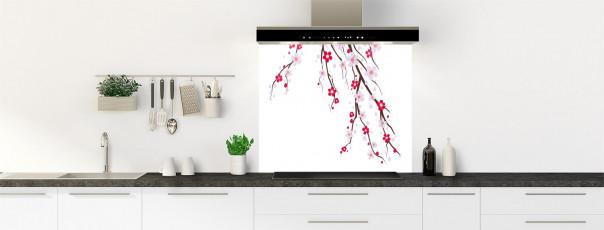 Crédence de cuisine Arbre fleuri couleur blanc fond de hotte