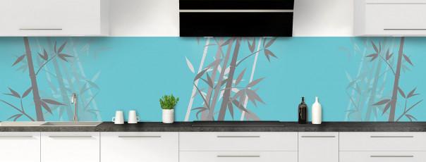 Crédence de cuisine Bambou zen couleur bleu lagon panoramique