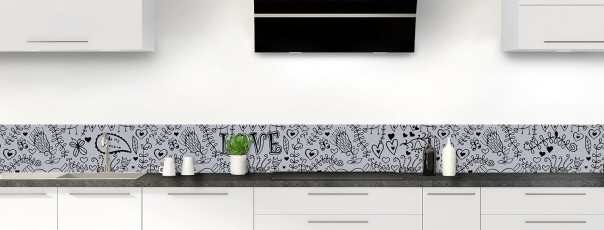 Crédence de cuisine Love illustration couleur gris métal dosseret