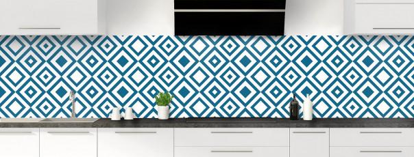 Crédence de cuisine Losanges vintage couleur bleu baltic panoramique