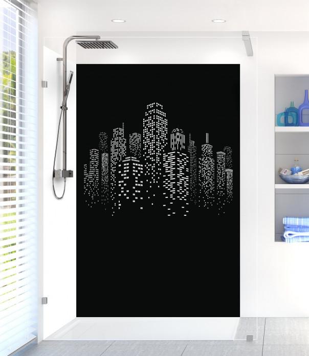 Panneau de douche Gratte-ciels couleur noir