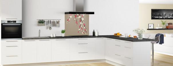 Crédence de cuisine Arbre fleuri couleur marron glacé fond de hotte en perspective