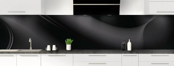Crédence de cuisine Volute couleur noir panoramique motif inversé