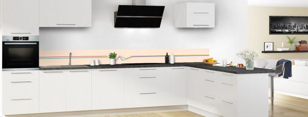 Crédence de cuisine Light painting couleur sable dosseret motif inversé en perspective