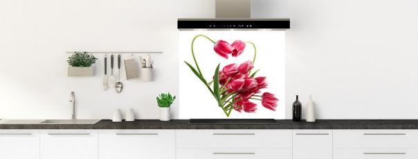 Crédence de cuisine Cœur de tulipes fond de hotte