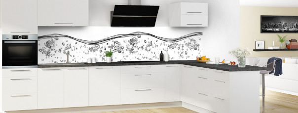 Crédence de cuisine Aqua et bulles Blanc panoramique en perspective