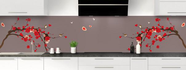 Crédence de cuisine Cerisier japonnais couleur taupe panoramique