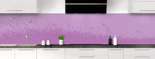 Crédence de cuisine Prairie et papillons couleur parme panoramique