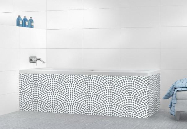 Panneau tablier de bain Mosaïque petits cœurs couleur gris carbone