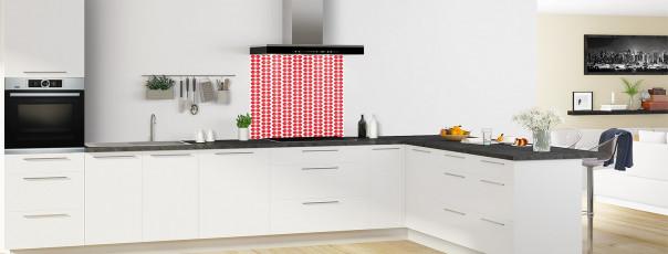 Crédence de cuisine Petites Feuilles Blanc couleur rouge vif fond de hotte en perspective