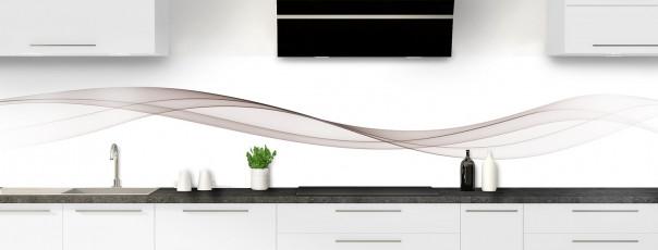 Crédence de cuisine Vague graphique couleur argile panoramique