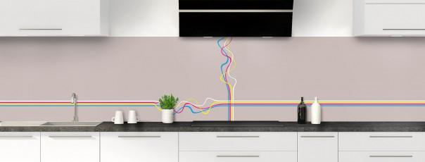 Crédence de cuisine Light painting couleur argile panoramique motif inversé