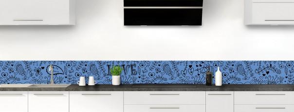 Crédence de cuisine Love illustration couleur bleu lavande dosseret
