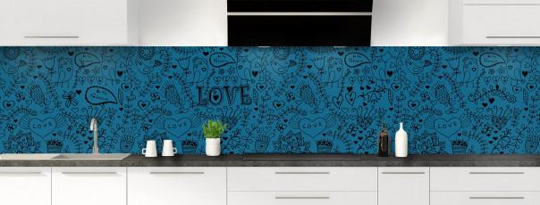 Crédence de cuisine Love illustration couleur bleu baltic panoramique