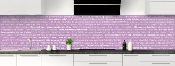 Crédence de cuisine Recettes de cuisine couleur parme panoramique