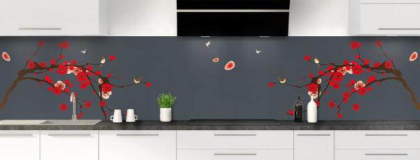 Crédence de cuisine Cerisier japonnais couleur gris carbone panoramique motif inversé