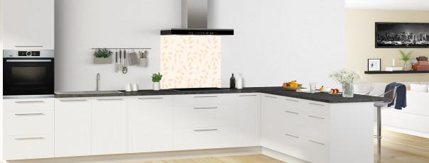 Crédence de cuisine Rideau de feuilles couleur magnolia fond de hotte en perspective