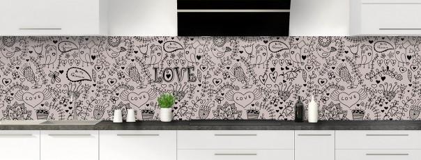 Crédence de cuisine Love illustration couleur argile panoramique