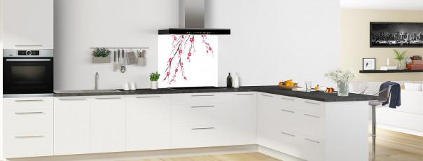 Crédence de cuisine Arbre fleuri couleur blanc fond de hotte motif inversé en perspective