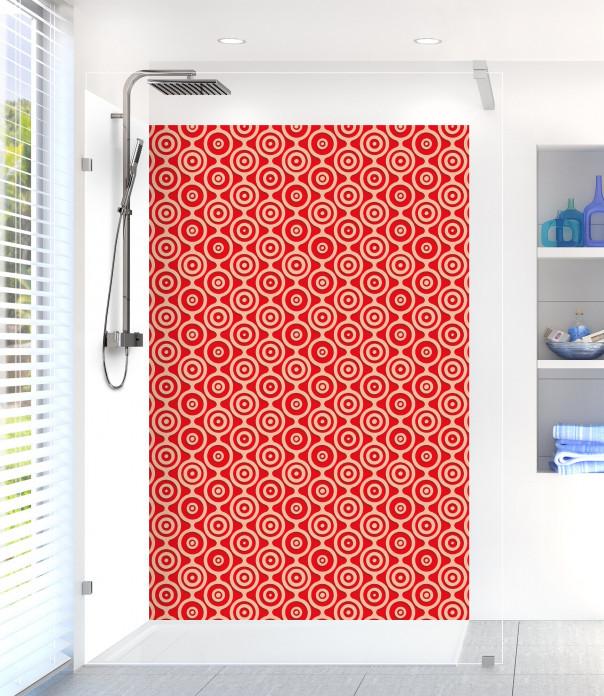 Panneau de douche Papier peint rétro couleur rouge vif