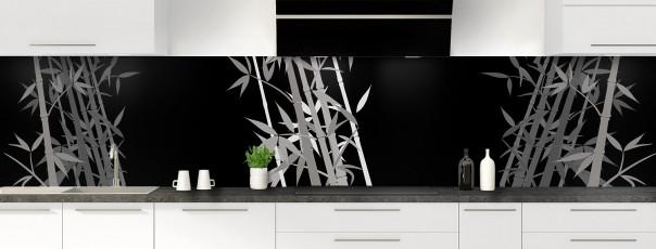 Crédence de cuisine Bambou zen couleur noir panoramique motif inversé