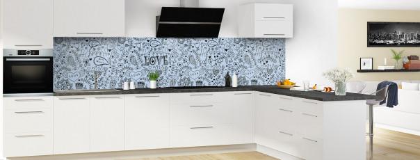 Crédence de cuisine Love illustration couleur bleu azur panoramique en perspective