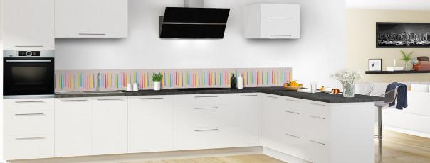 Crédence de cuisine Barres colorées couleur argile dosseret en perspective