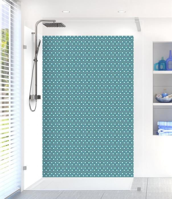 Panneau de douche Hexagones  couleur bleu canard