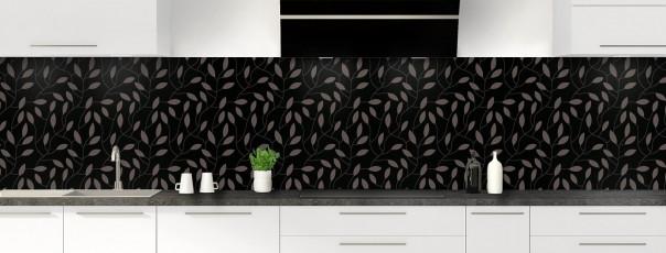 Crédence de cuisine Rideau de feuilles couleur noir panoramique