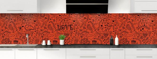 Crédence de cuisine Love illustration couleur rouge brique panoramique