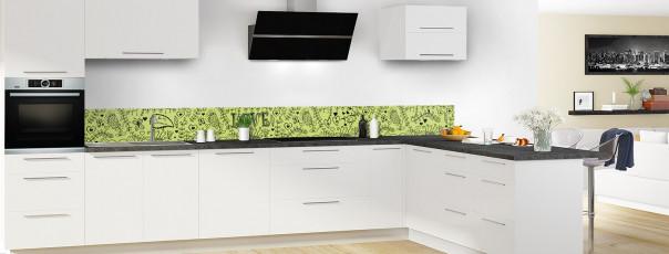 Crédence de cuisine Love illustration couleur vert olive dosseret en perspective
