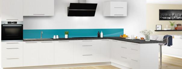 Crédence de cuisine Ombre et lumière couleur bleu canard dosseret motif inversé en perspective