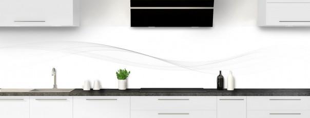 Crédence de cuisine Vague graphique couleur blanc panoramique
