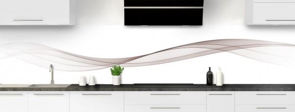 Crédence de cuisine Vague graphique couleur argile panoramique motif inversé
