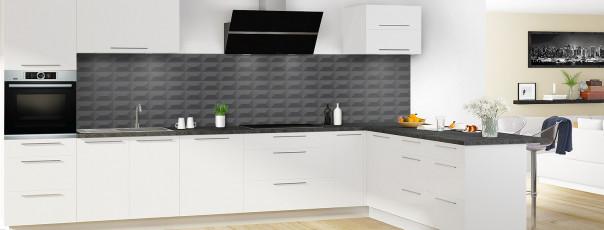 Crédence de cuisine Briques en relief couleur gris carbone panoramique en perspective