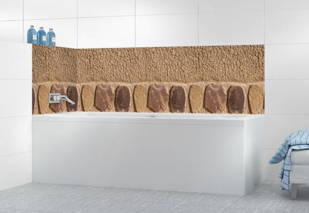 Panneau de bain Mur en terre et pierres