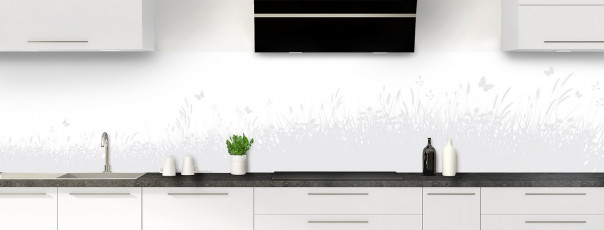 Crédence de cuisine Prairie et papillons couleur blanc panoramique motif inversé