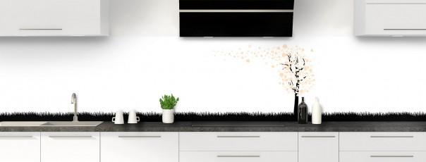 Crédence de cuisine Arbre d'amour couleur sable panoramique motif inversé