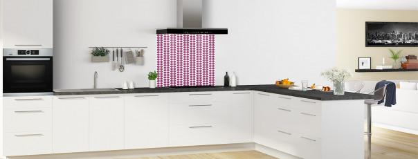 Crédence de cuisine Petites Feuilles Blanc couleur prune fond de hotte en perspective