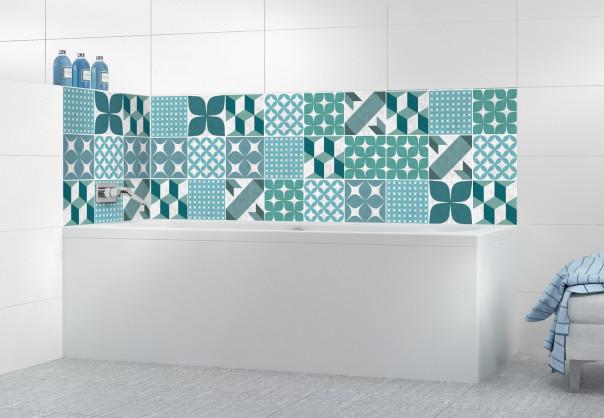 Panneau de bain Carreaux de ciment patchwork Vert