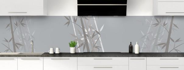 Crédence de cuisine Bambou zen couleur gris métal panoramique motif inversé