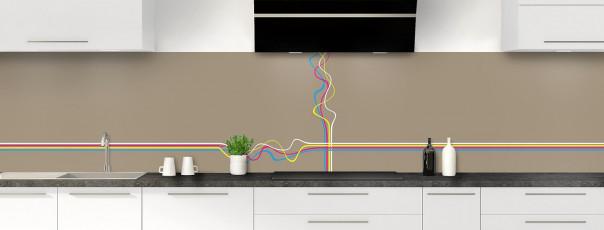 Crédence de cuisine Light painting couleur marron glacé panoramique motif inversé