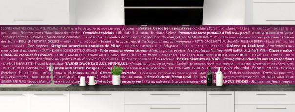 Crédence de cuisine Recettes de cuisine couleur prune panoramique