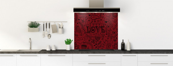 Crédence de cuisine Love illustration couleur rouge pourpre fond de hotte