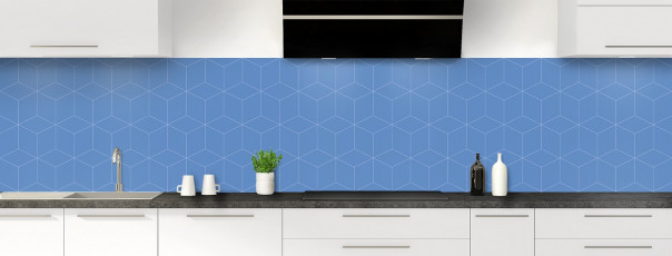 Crédence de cuisine Cubes en relief couleur bleu lavande panoramique