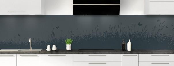 Crédence de cuisine Prairie et papillons couleur gris carbone panoramique motif inversé