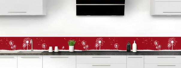 Crédence de cuisine Pissenlit au vent couleur rouge carmin dosseret motif inversé