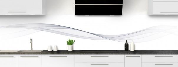 Crédence de cuisine Vague graphique couleur gris clair panoramique