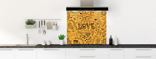 Crédence de cuisine Love illustration couleur abricot fond de hotte