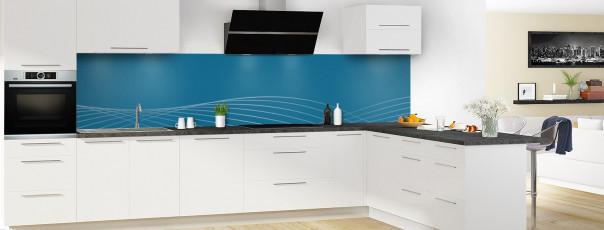 Crédence de cuisine Courbes couleur bleu baltic panoramique motif inversé en perspective